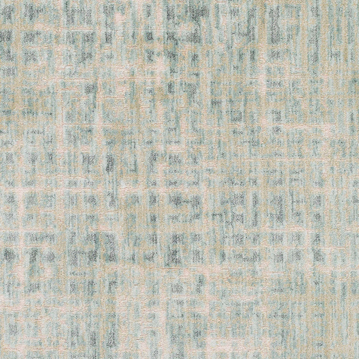 Modern neutral tone machine made Egyptian area rug in green with hints of cream and beige - Close up