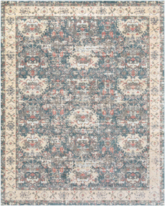 Neutral machine made Egyptian area rug with beige, green and pink accents