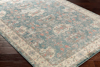 Neutral machine made Egyptian area rug with beige, green and pink accents on wood floor