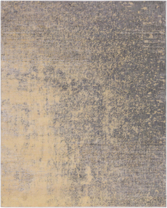 Neutral toned machine made Egyptian area rug with splashes of beige, cream and gray