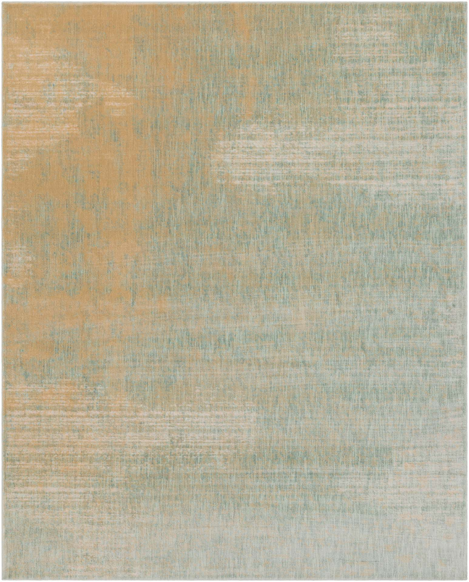 Modern machine made Egyptian area rug with splashes of beige, cream and green.