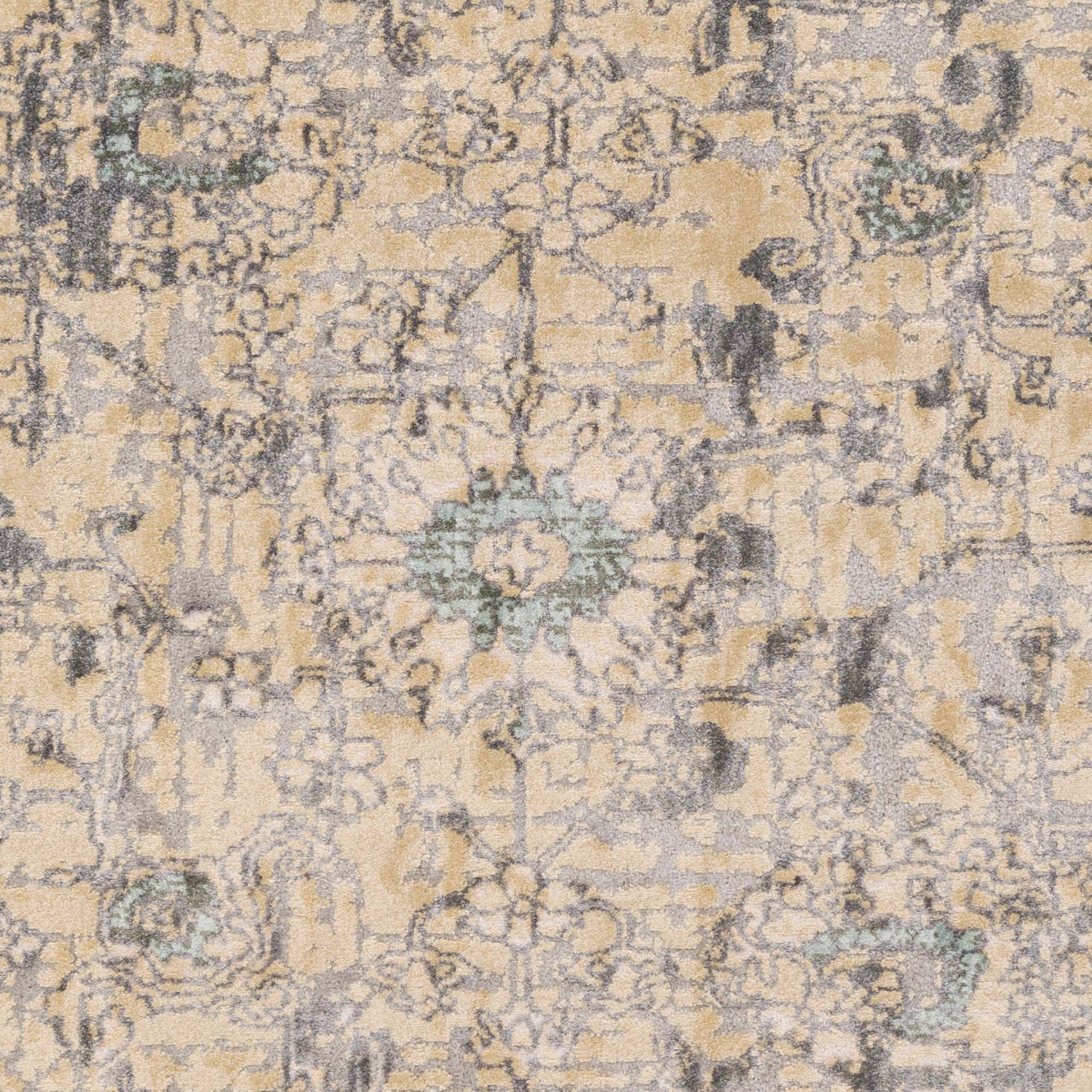 Neutral machine made Egyptian area rug in beige with hints of gray and green - Close up