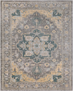 Neutral tone machine made area rug from Egypt with hints of gray, green and beige.