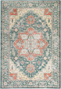 Neutral tone machine made area rug from Egypt with hints of green, beige and gray.