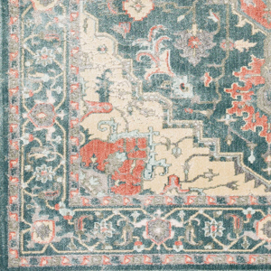 Neutral tone machine made area rug from Egypt with hints of green, beige and gray - Closeup
