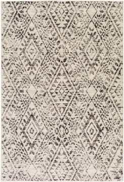 Polyester wool blend Surya Stretto rug comes in a black & white diamond tribal pattern in a durable long lasting material that is easy to clean & maintain.