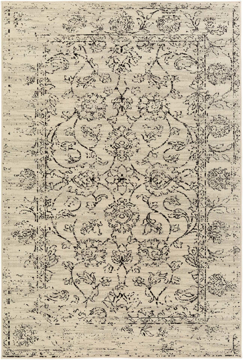 Surya Stretto polyester wool blend rug featuring an intricate neutral pattern design brings a classic traditional style to your living room.