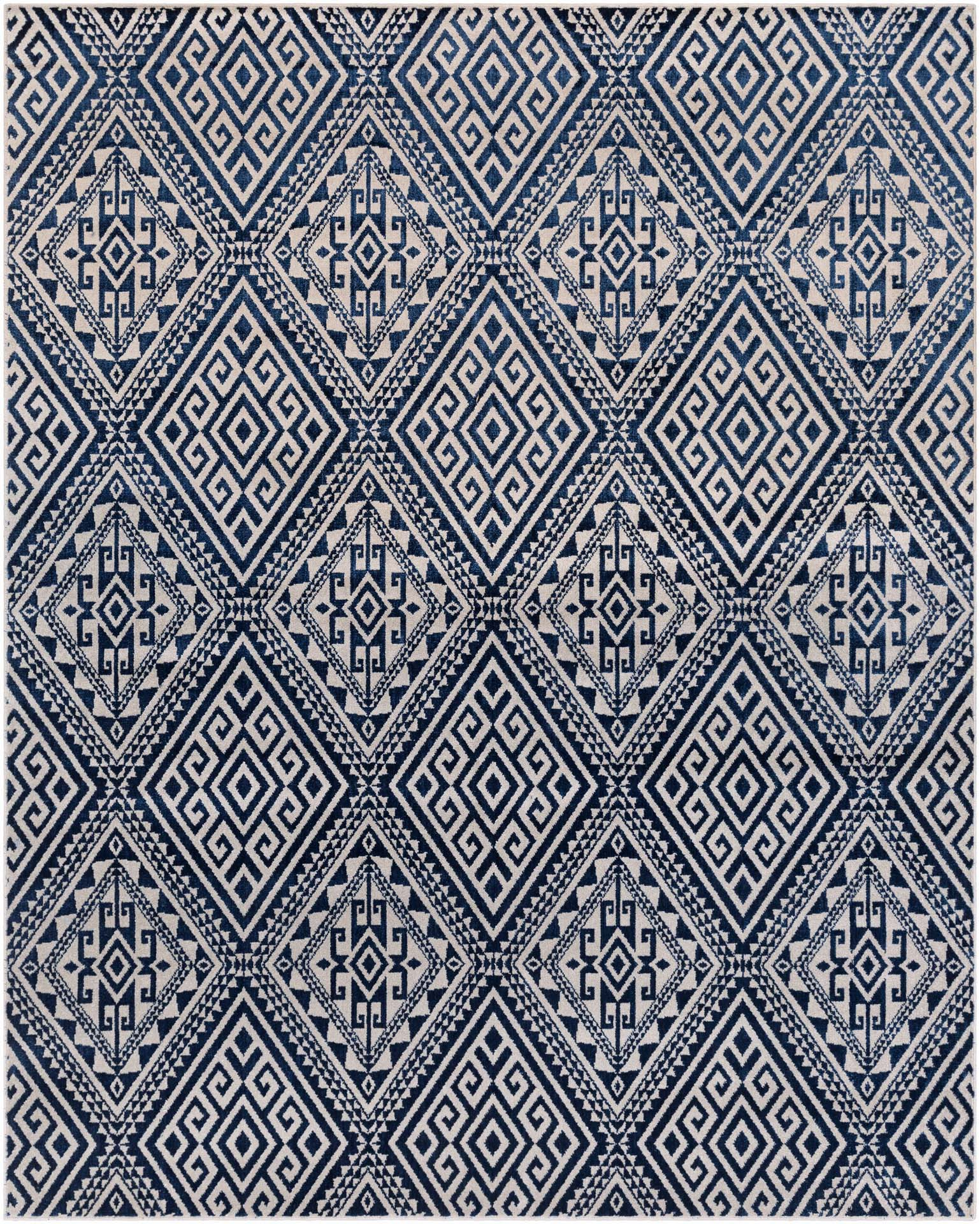 Polyester wool blend Surya Stretto rug comes in a violet and gray diamond tribal pattern in a durable long lasting material that is easy to maintain.