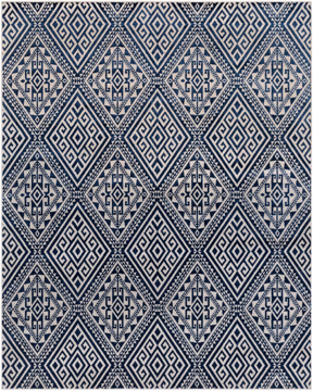 Polyester wool blend Surya Stretto rug comes in a dark blue & white diamond tribal pattern in a durable long lasting material that is easy to maintain.