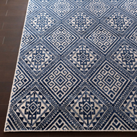 Surya Stretto Collection rug comes adorned from a polyester wool blend in an eye catching violet diamond tribal pattern perfect for your living room.