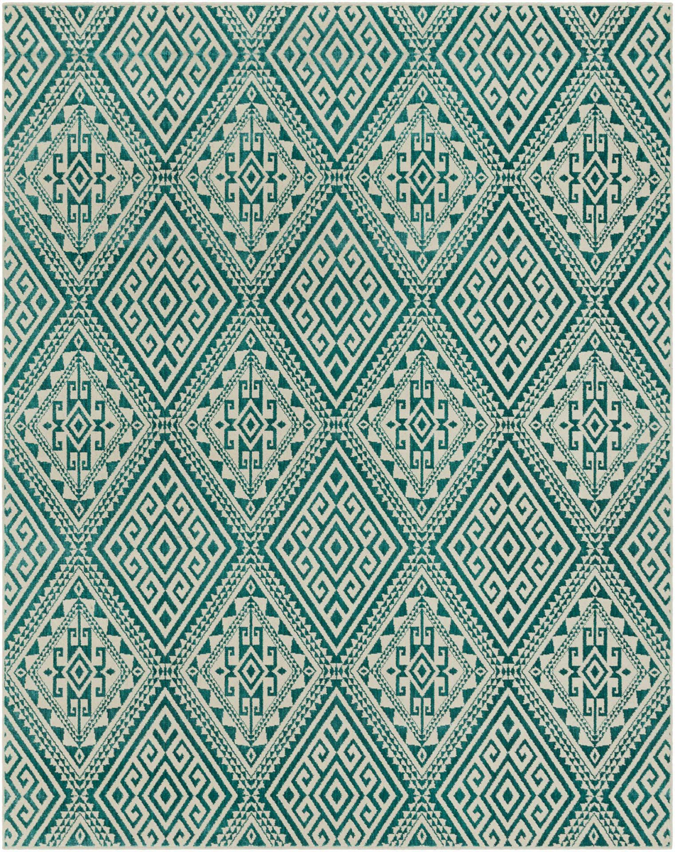 Polyester wool blend Surya Stretto rug comes in a teal diamond pattern design in durable and long lasting material.