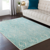 Surya Stretto polyester wool blend rug features an intricate blue & white diamond tribal pattern that brings a bright trendy edge to your living room.
