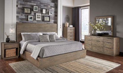 3-piece queen size platform bed set made from solid pine wood features a 9-drawer dresser & USB night stand with aged zinc handles in a rustic wood finish.