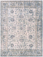 Classic machine woven area rug in beige with blue and green accents