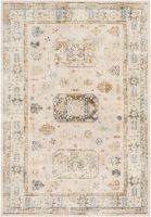 Neutral toned machine made area rug from Israel in beige with taupe, dark brown and green accents