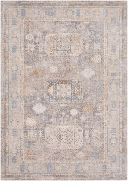 Neutral machine-made area rug from Israel with hints of beige, gray, blue and brown