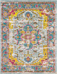 Trendy colorful 5x7 Turkish rug with hints of yellow, pink and blue from the Surya Anika Collection.