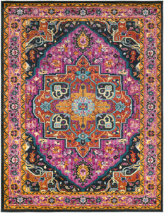 Trendy colorful 5x7 Turkish rug with hints of pink from the Surya Anika Collection.