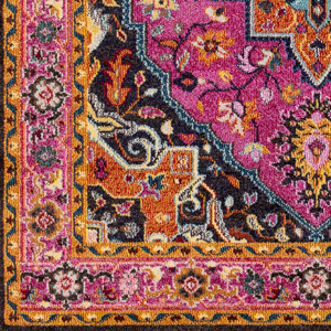 Trendy colorful 5x7 Turkish rug with hints of pink from the Surya Anika Collection - Detail Shot