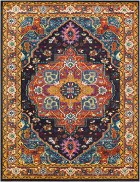 Trendy colorful Turkish rug with hints of blue and yellow from the Surya Anika Collection.
