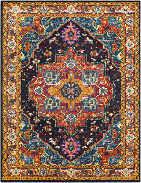 Trendy colorful 5x7 Turkish rug with hints of blue and yellow from the Surya Anika Collection.