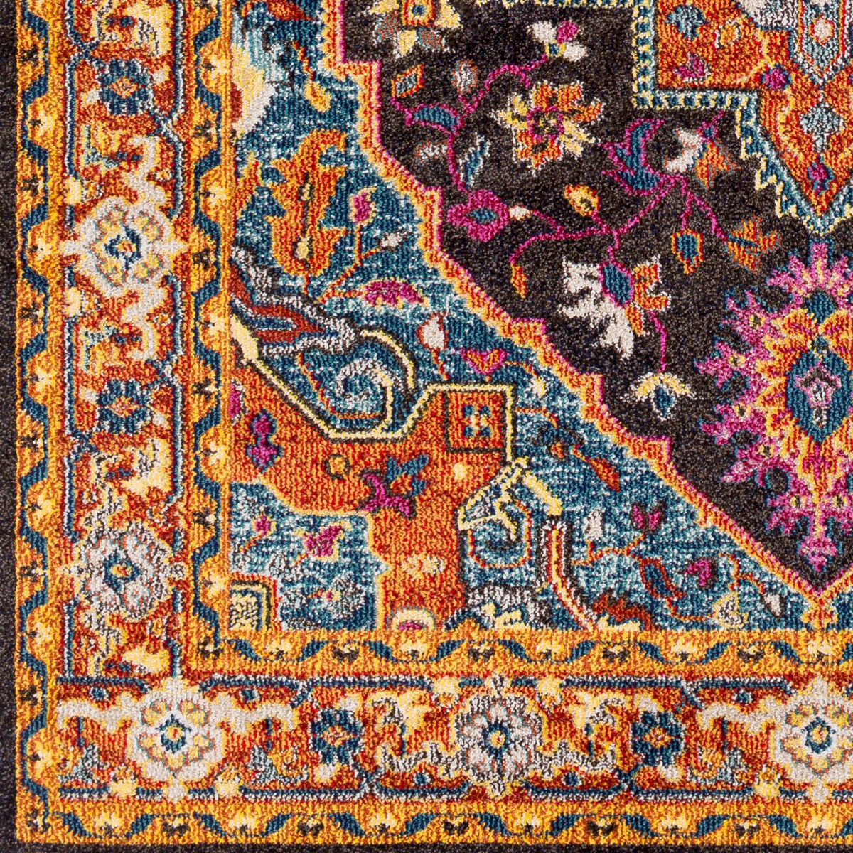 Trendy colorful Turkish rug with hints of blue and yellow from the Surya Anika Collection - Detail Shot