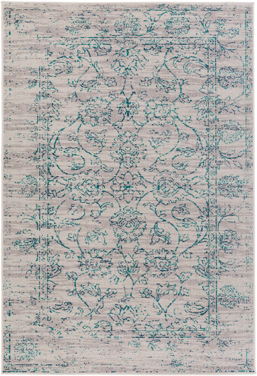 Machine made area rug from Israel in gray with teal flower accents