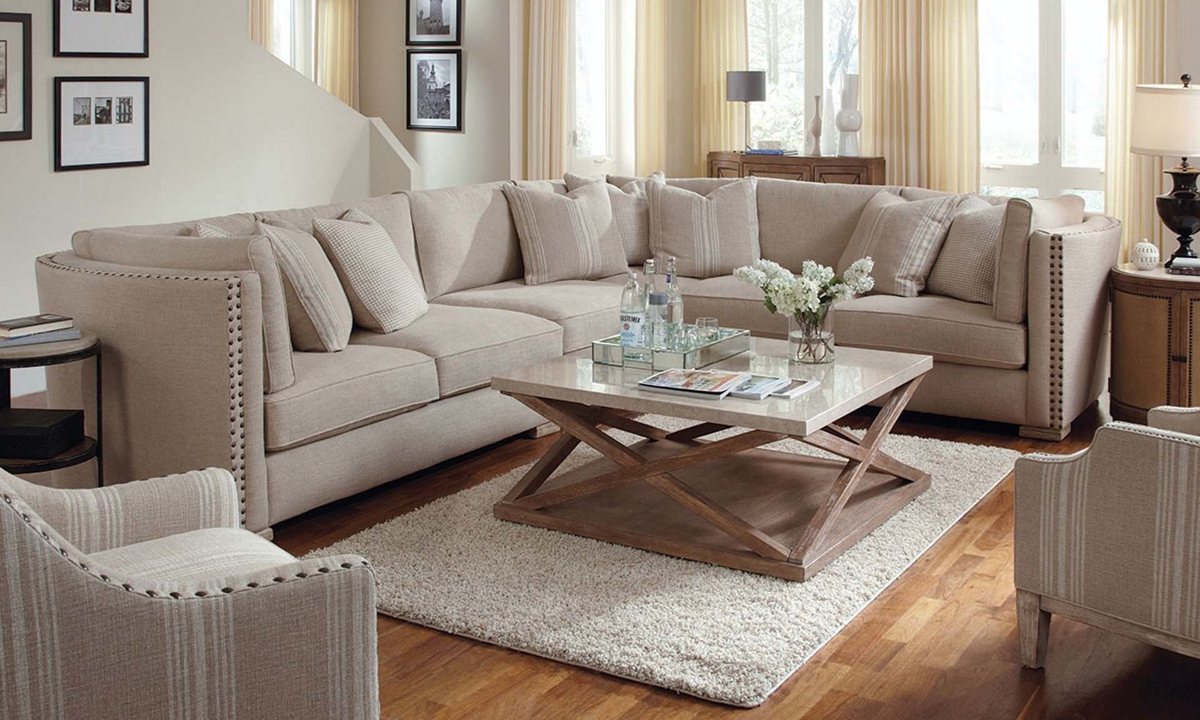 A.R.T. Madison Linen Blend Feather Down Sectional