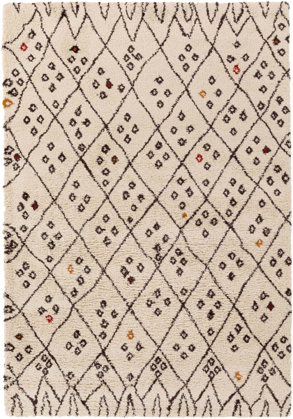 Handmade Surya Wilder rug in an intricate Khaki pattern with black diamond details featuring spot only cleaning & accompanied by a 1 year warranty.
