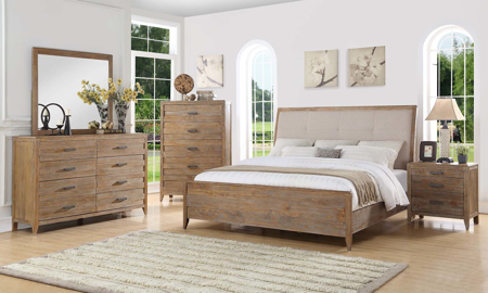 Rustic queen sleigh bedroom set features a bed, dresser, & mirror with 8 full drawer extension & brushed nickle handles in a wire brushed sandstorm finish.