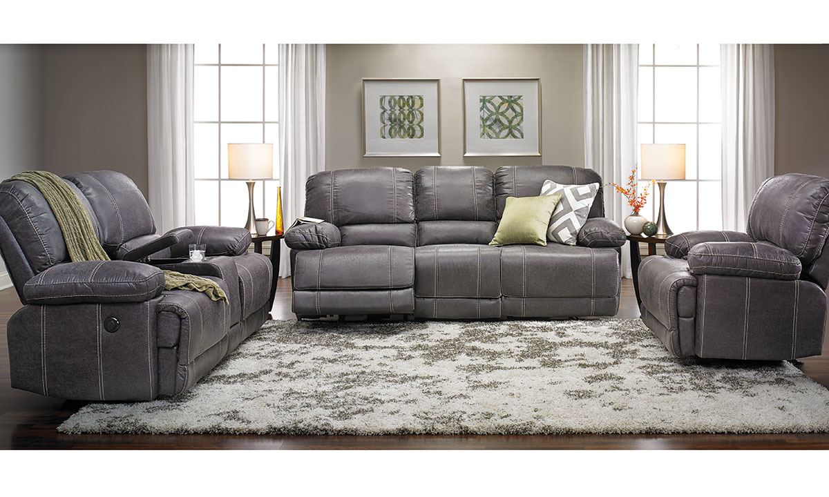 3 Piece Gray Reclining Sofa Set