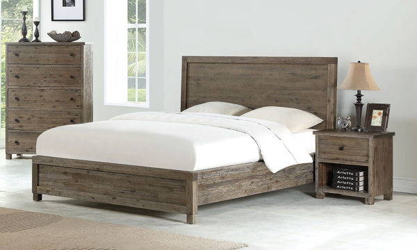 Ravine Solid Acacia Wood Rustic Contemporary Full Panel Bedroom Set with bed, dresser and nightstand