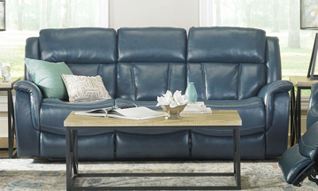 Transitional Trojan Power reclining sofa with USB charge ports, chaise, & adjustable power headrest in a blue top-grain leather for your small living room.