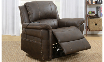 Transitional power recliner features USB & heated massage on a generously padded pub back with antique layer arm trim in a high-grade brown upholstery.
