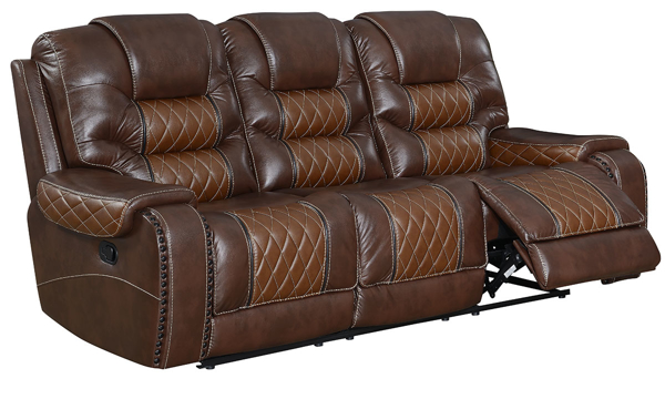 Transitional triple back recliner sofa in two-tone brown leather gel features diamond quilted tufting on a comfy pillow back, deep seats, & bold nail trim.