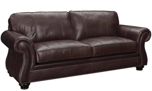 """Broyhill 89"""" Top-grain roll arm leather sofa with interlocking hardwood frame & DuraCoil wrapped cushions atop sturdy bun feet for your classic living room."""