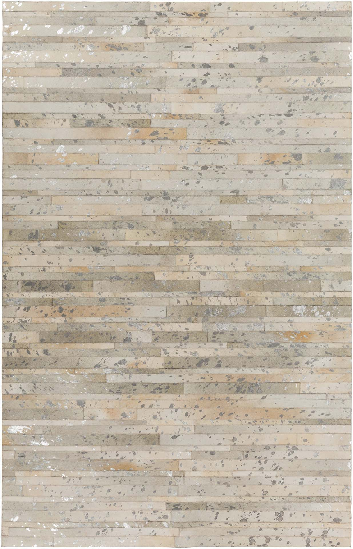 Handmade Surya Hewitt Collection rug is made with hair on hide from India and features a distressed gray and ivory pattern with a touch of fashion forward flair.
