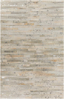 Handmade Surya Hewitt Collection rug is made with hair on hide from India and features a distressed gray pattern with a touch of fashion forward flair.