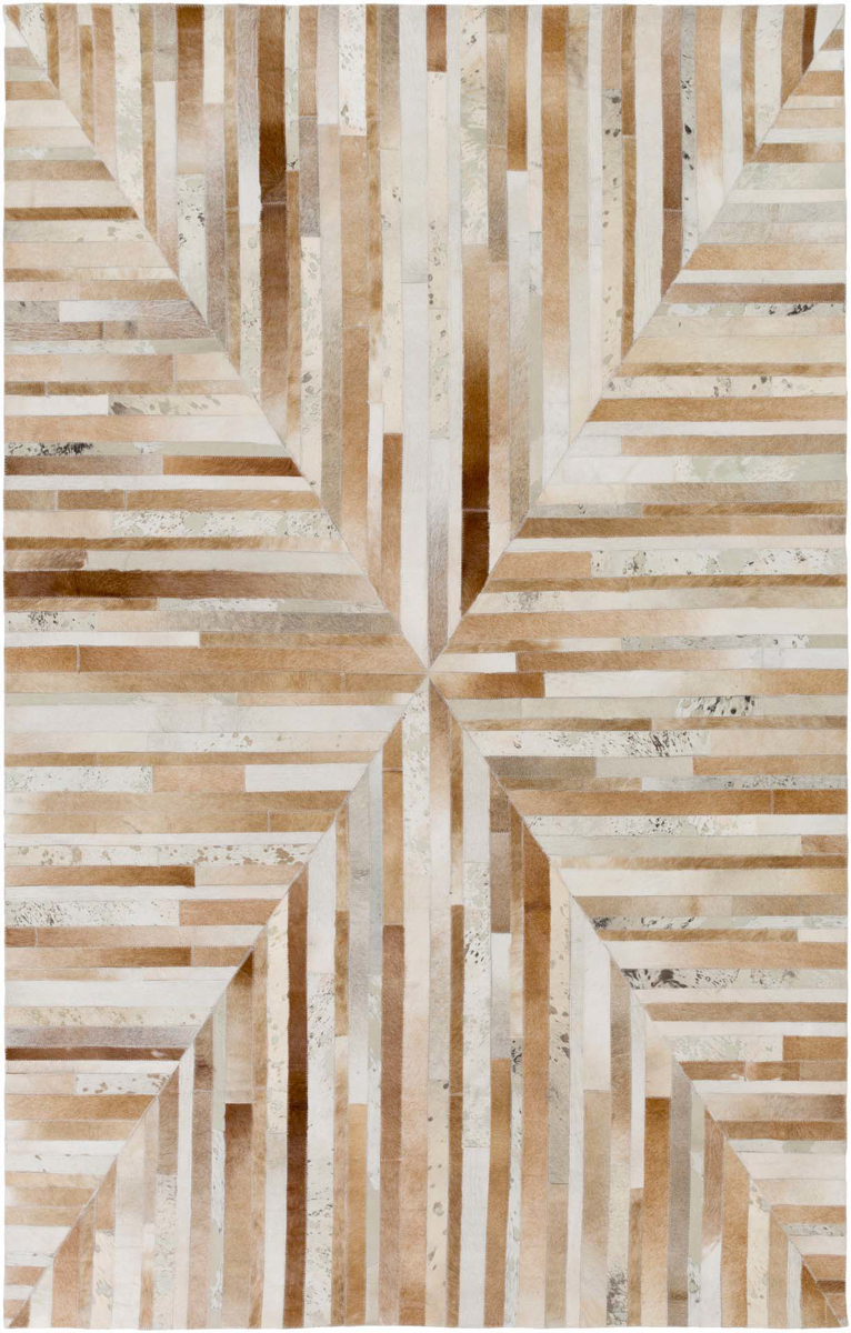 Handmade Surya Houseman Collection rug is made with hair on hide from India a rustic neutral ambiance for a natural look and feel.