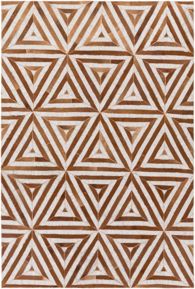 Handmade Surya Medora Collection rug is made with hair on hide from India & features a camel and brown triangle tribal print pattern.