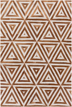 Handmade Surya Medora Collection rug is made with hair on hide from India & features a red and white triangle tribal print pattern.
