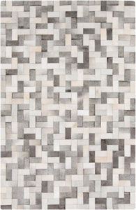 Intricately crafted handmade Surya Outback Collection rug is naturally made with hair on hide from India in a gray, ivory and camel block interwoven pattern.