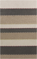 Handcrafted Surya Thread rug featuring wool felted from India in a neutral tone stripe pattern & spot only cleaning accompanied with a 1 year warranty.