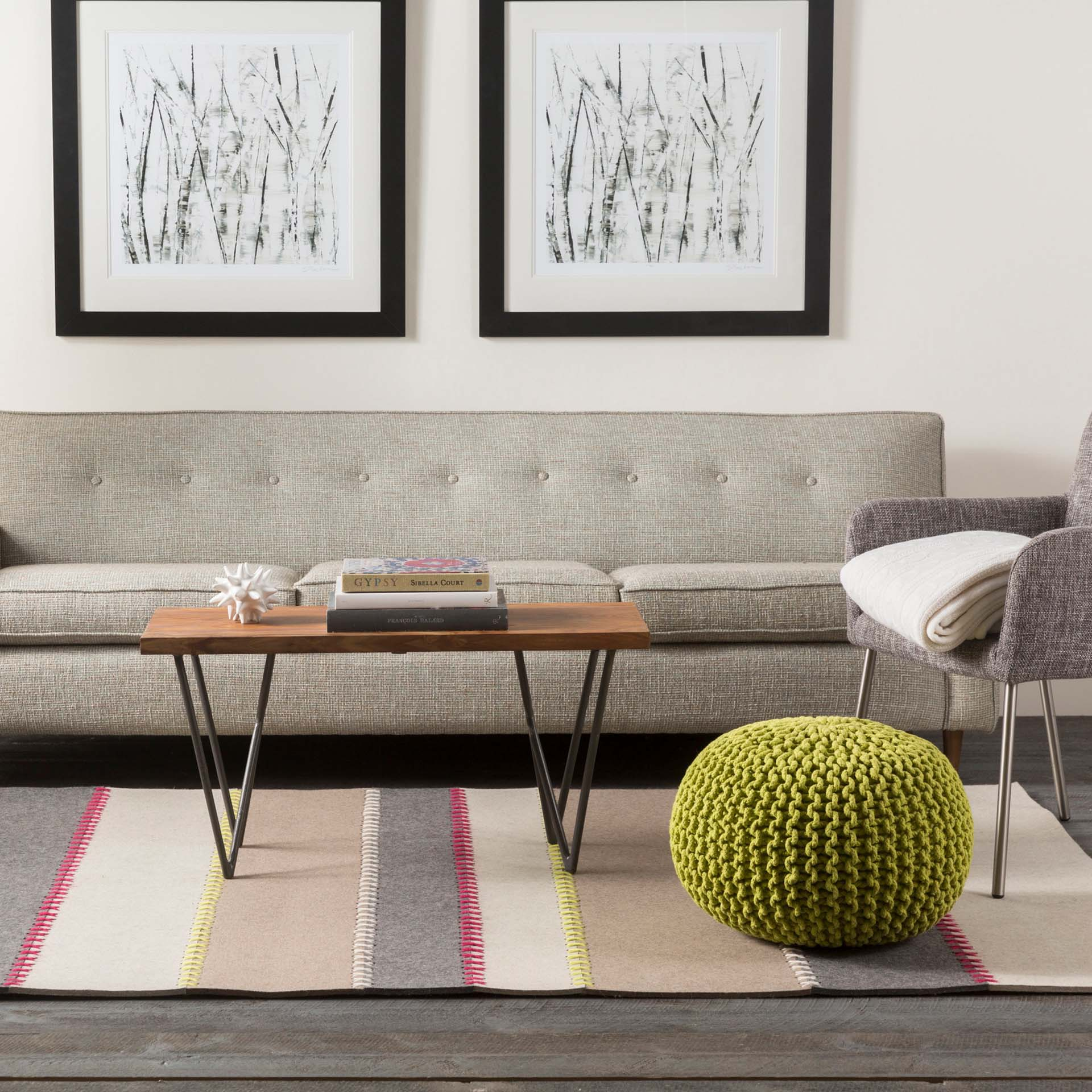 Handmade Surya Thread Collection rug comes adorned in felted wood from India in a natural earth tone stripe pattern perfect for your living room floor.