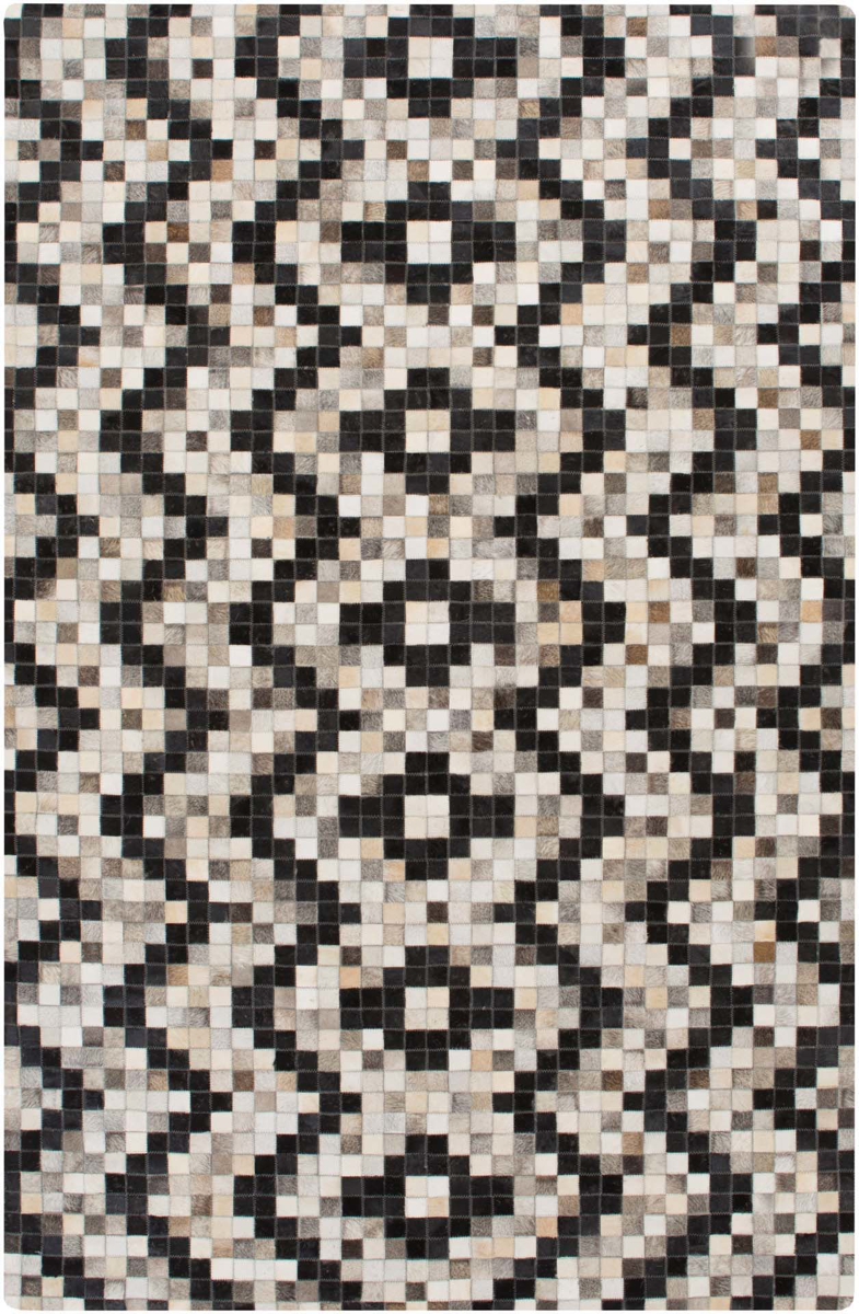 Handmade hair on hide rug from India with intricate black and gray pattern