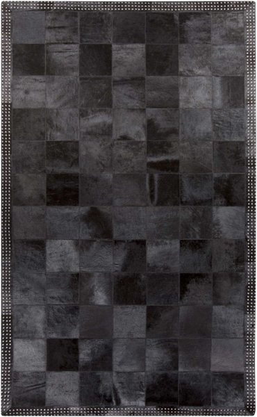 Handmade Surya Vega Collection rug is made with hair on hide from India and exudes black & gray rustic ambiance with a touch of fashion forward flair.