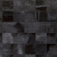 Handmade hair on hide area rug from India with black and metallic silver patchwork pattern- Pattern Detail Shot