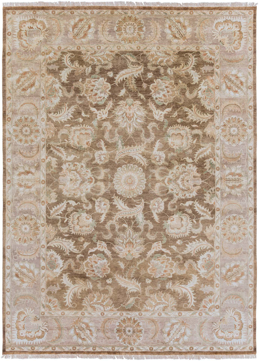 Hand knotted 5x8 rug with hints of tan and brown from the Surya Timeless Collection