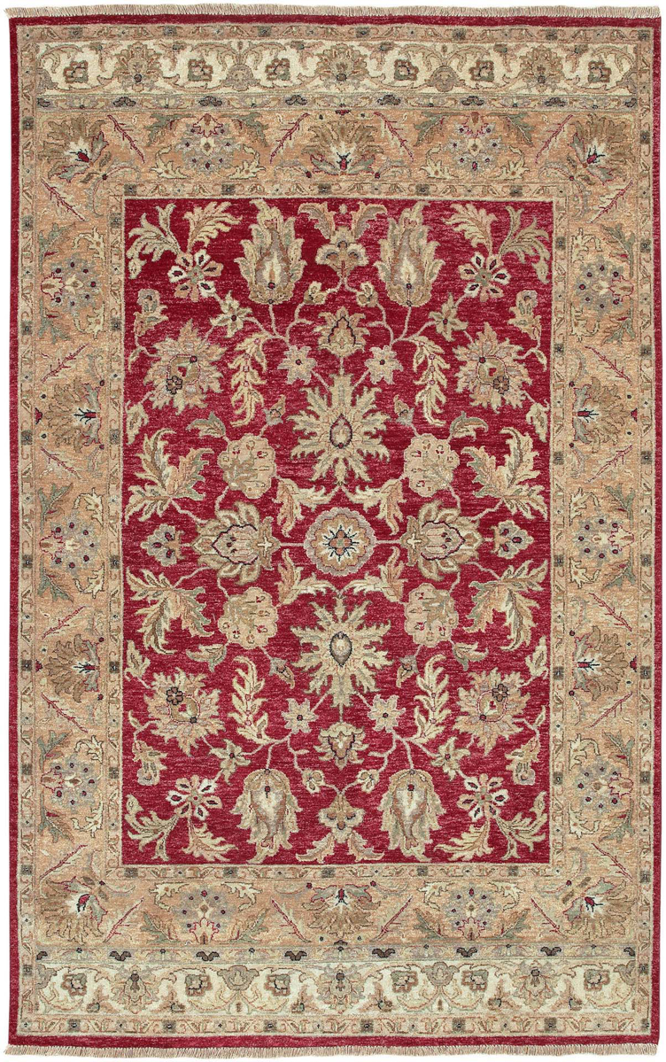 Hand knotted rug with hints of burgundy and khaki from the Surya Timeless Collection