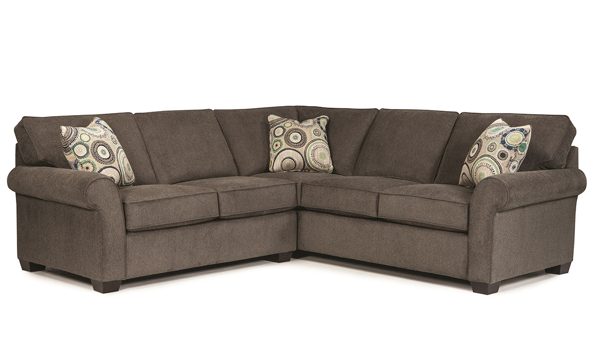 Broyhill handmade american 2-piece roll arm sectional comes in a high quality gray upholstery with DuraCoil cushions, hardwood framing, & 2 toss pillows.